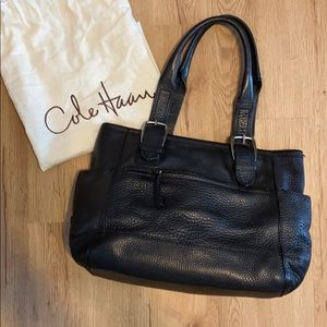 Cole Haan Black Leather Tote Bag, large